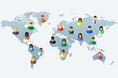 Diverse people on world map