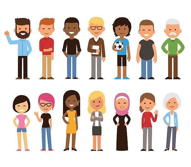 diverse people set - cartoon people stock illustrations, clip art, cartoons, & icons