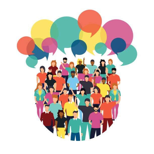 illustrazioni stock, clip art, cartoni animati e icone di tendenza di diverse people team with social chat bubbles - gruppo di persone