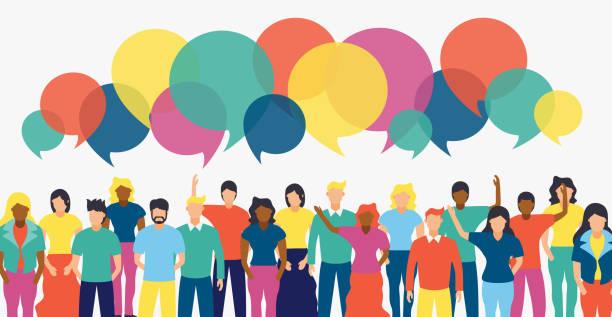 stockillustraties, clipart, cartoons en iconen met divers people team met sociale chat bubbels - group of fans talking