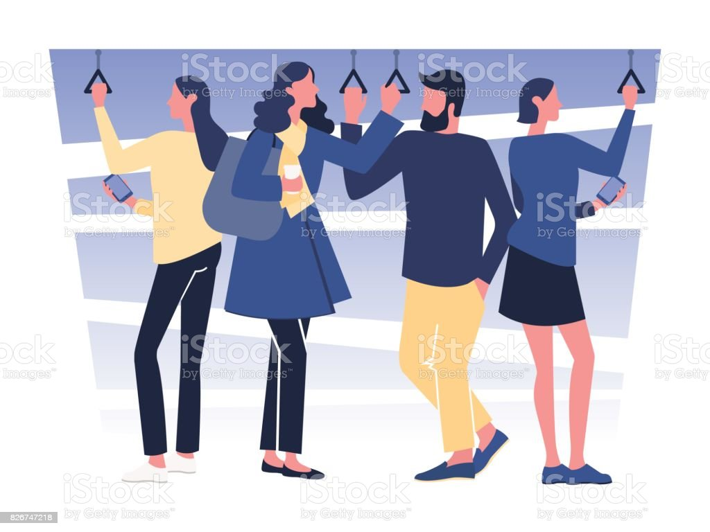 Diverse people traveling by a subway and using gadgets. Vector illustration vector art illustration