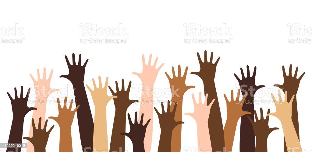 Diverse raised hands - arte vettoriale royalty-free di Altruismo