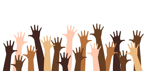 Diverse raised hands isolated on a white background.