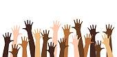 istock Diverse raised hands 1255246015