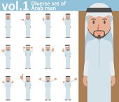 Diverse set of Arab man on white background vol.1