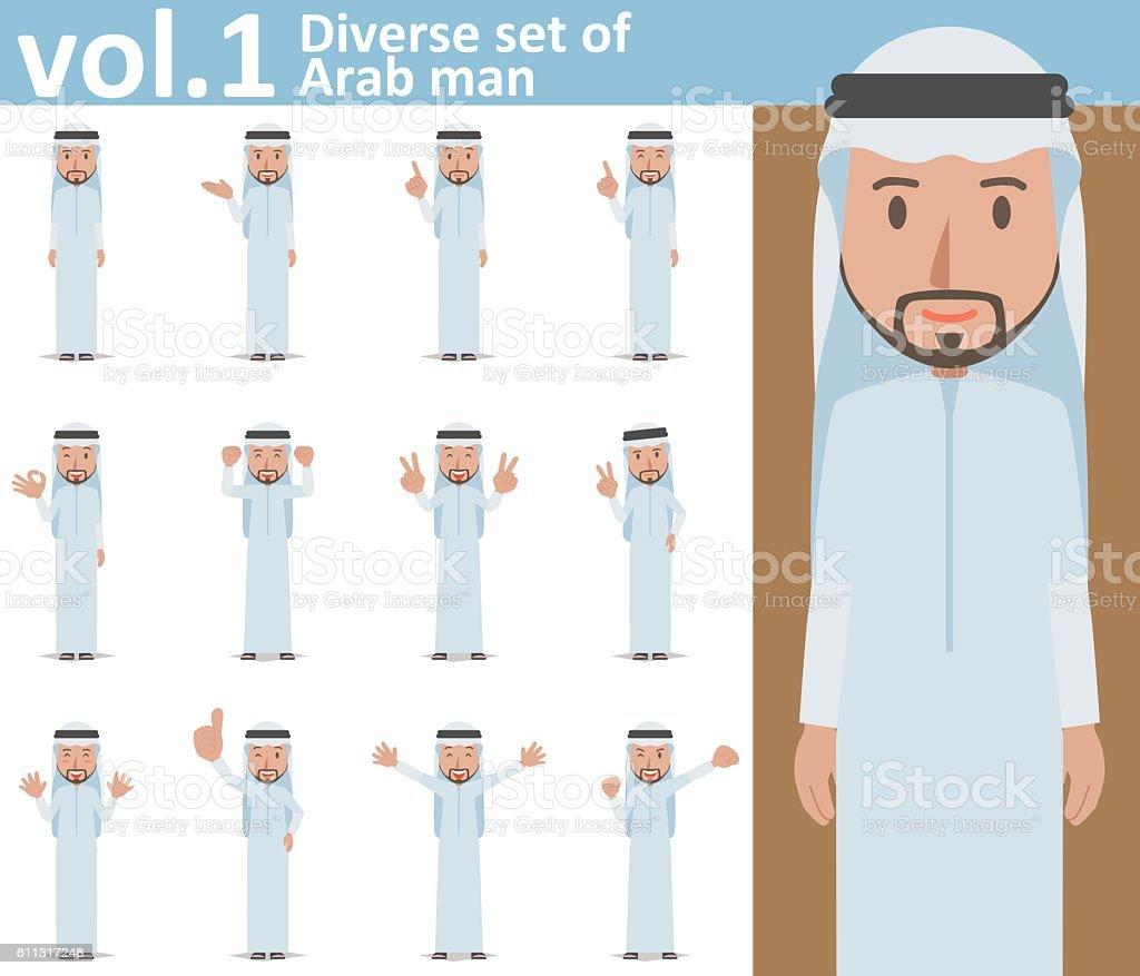 Diverse set of Arab man on white background vol.1 vector art illustration