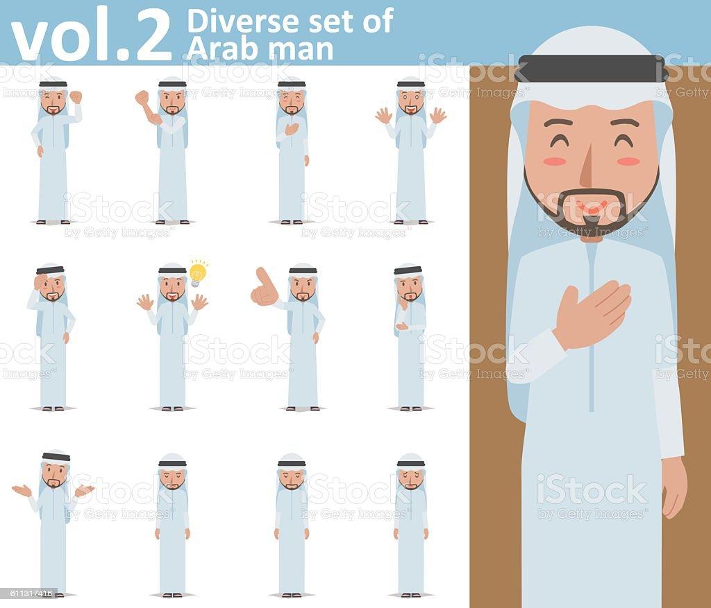 Diverse set of Arab man on white background vol.2 vector art illustration