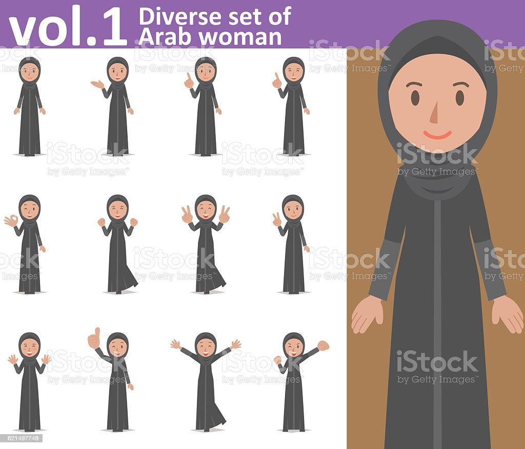 Diverse set of Arab woman , EPS10 vector format vol.1 diverse set of arab woman eps10 vector format vol1 - immagini vettoriali stock e altre immagini di adulto royalty-free