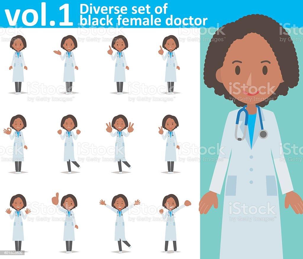 Diverse set of black female doctor  , EPS10 vector format vol.1 diverse set of black female doctor eps10 vector format vol1 - immagini vettoriali stock e altre immagini di adulto royalty-free