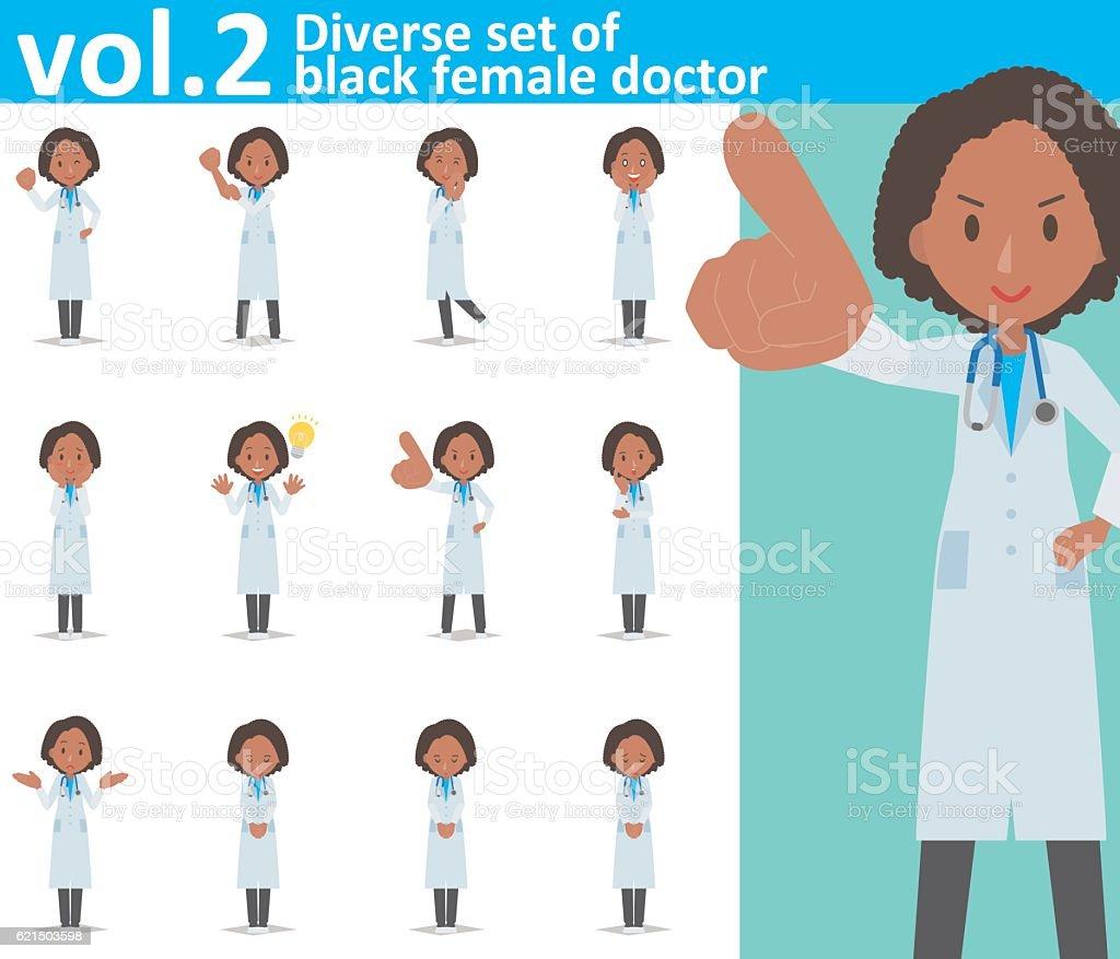 Diverse set of black female doctor  , EPS10 vector format vol.2 Lizenzfreies diverse set of black female doctor eps10 vector format vol2 stock vektor art und mehr bilder von arzt