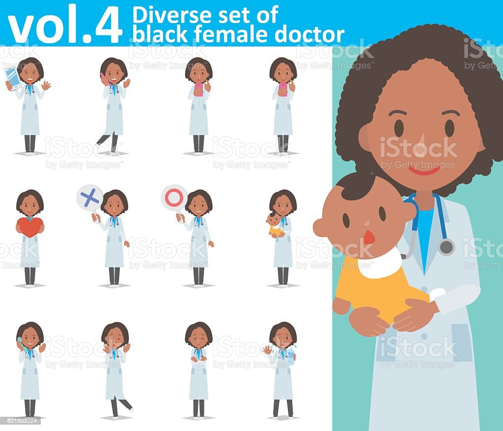 Diverse set of black female doctor  , EPS10 vector format vol.4 Lizenzfreies diverse set of black female doctor eps10 vector format vol4 stock vektor art und mehr bilder von arzt