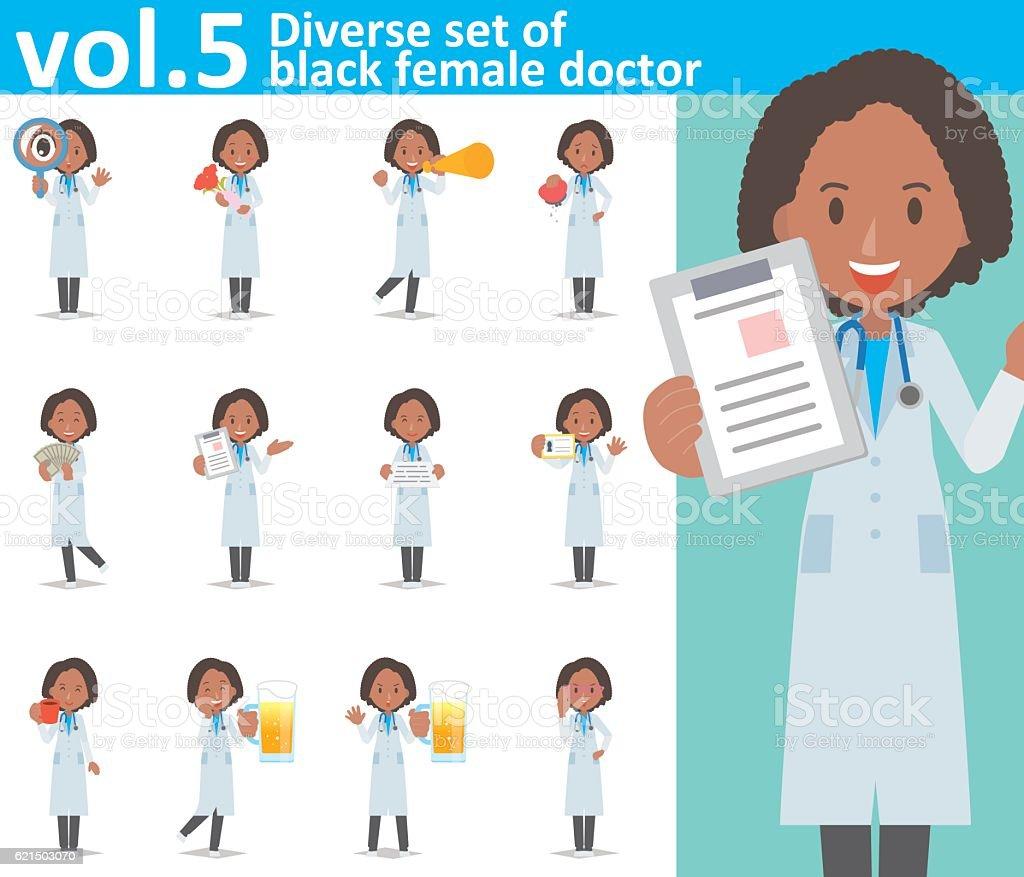 Diverse set of black female doctor , EPS10 vector format vol.5 diverse set of black female doctor eps10 vector format vol5 – cliparts vectoriels et plus d'images de adulte libre de droits