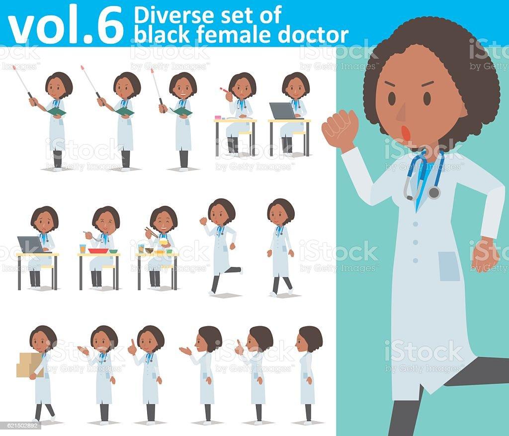Diverse set of black female doctor  , EPS10 vector format vol.6 Lizenzfreies diverse set of black female doctor eps10 vector format vol6 stock vektor art und mehr bilder von arzt