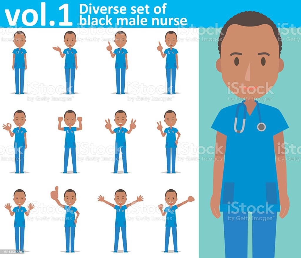Diverse set of black male nurse on white background  vol.1 vector art illustration