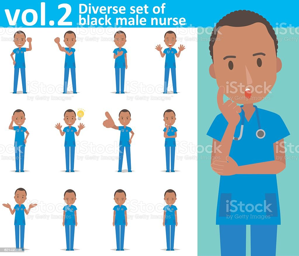 Diverse set of black male nurse on white background vol.2 vector art illustration