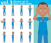 Diverse set of black male nurse on white background , EPS10 vector format vol.3