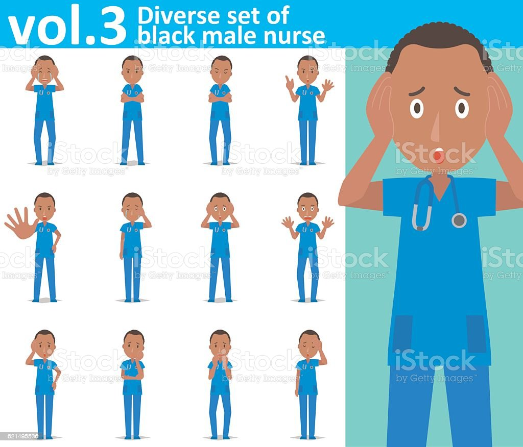 Diverse set of black male nurse on white background vol.3 vector art illustration