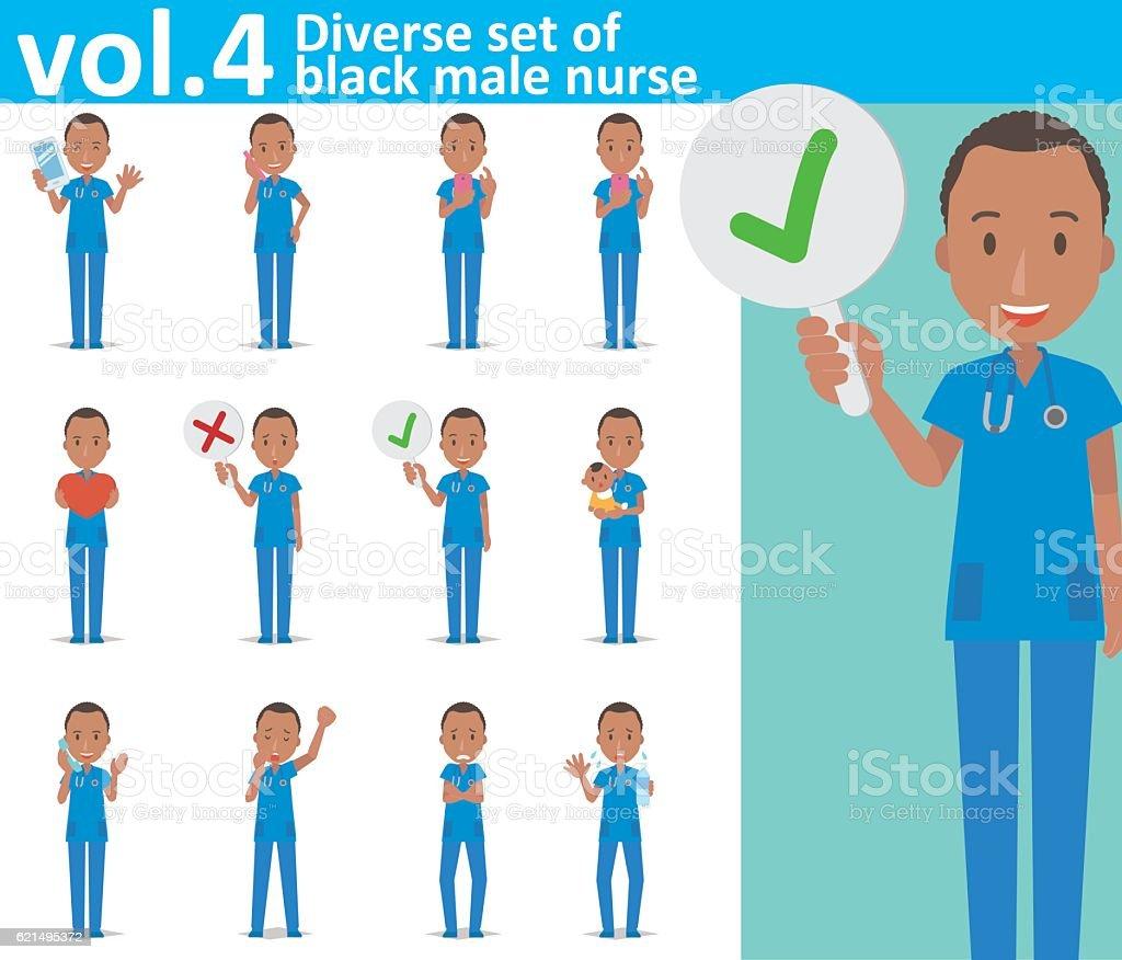 Diverse set of black male nurse on white background vol.4 diverse set of black male nurse on white background vol4 - immagini vettoriali stock e altre immagini di accudire royalty-free