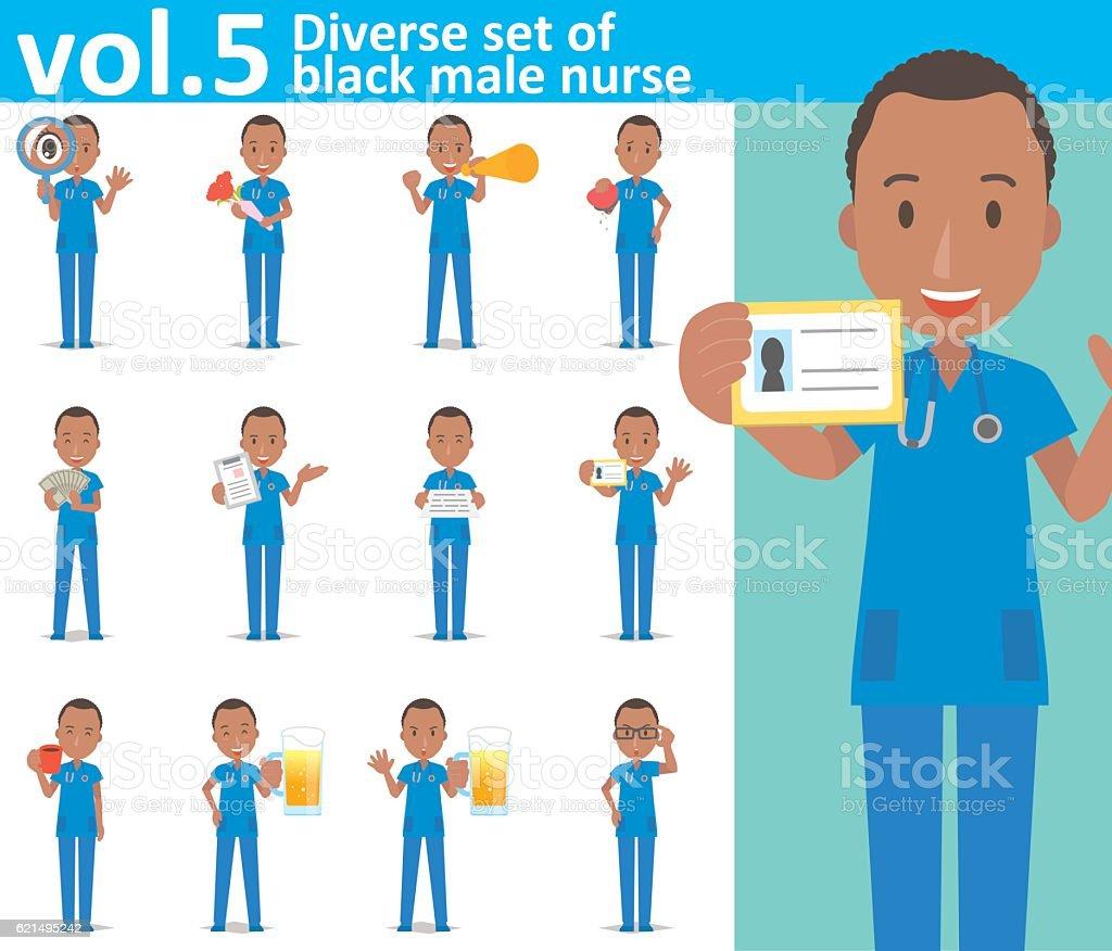 Diverse set of black male nurse on white background vol.5 diverse set of black male nurse on white background vol5 - immagini vettoriali stock e altre immagini di accudire royalty-free
