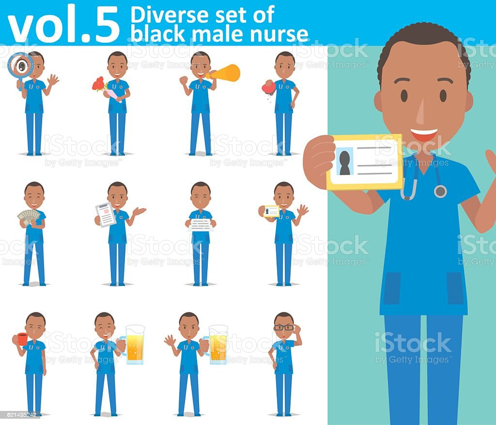 Diverse set of black male nurse on white background vol.5 vector art illustration