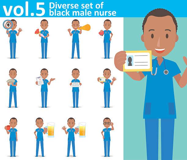 ilustraciones, imágenes clip art, dibujos animados e iconos de stock de diverse set of black male nurse on white background vol.5 - zoom meeting
