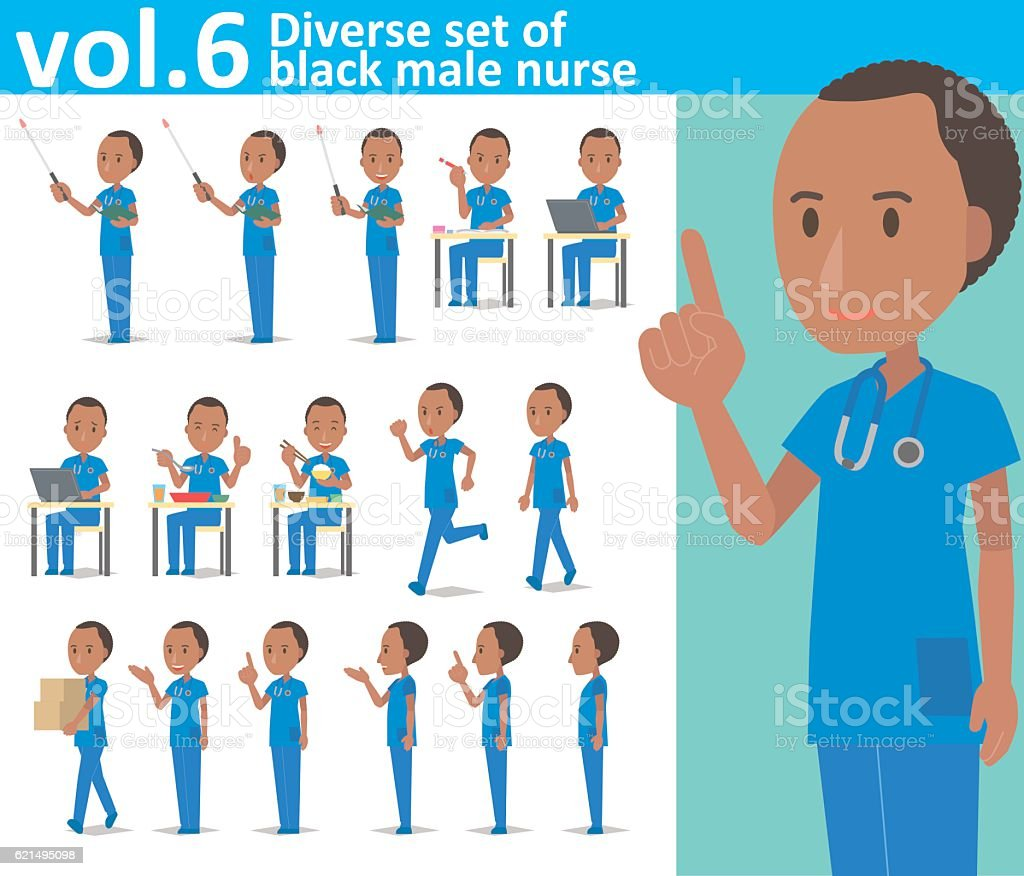 Diverse set of black male nurse on white background vol.6 vector art illustration