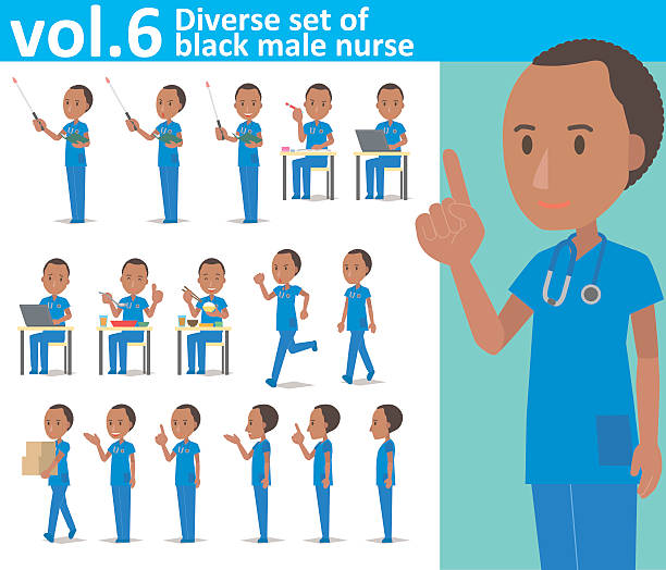 diverse set of black male nurse on white background vol.6 - schulkrankenschwesternbüro stock-grafiken, -clipart, -cartoons und -symbole