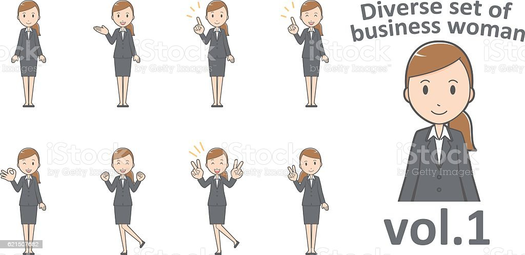 Diverse set of business woman , EPS10 vector format vol.1 diverse set of business woman eps10 vector format vol1 – cliparts vectoriels et plus d'images de adulte libre de droits