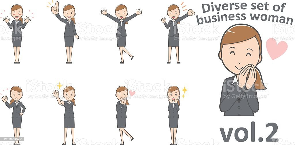 Diverse set of business woman , EPS10 vector format vol.2 diverse set of business woman eps10 vector format vol2 – cliparts vectoriels et plus d'images de adulte libre de droits