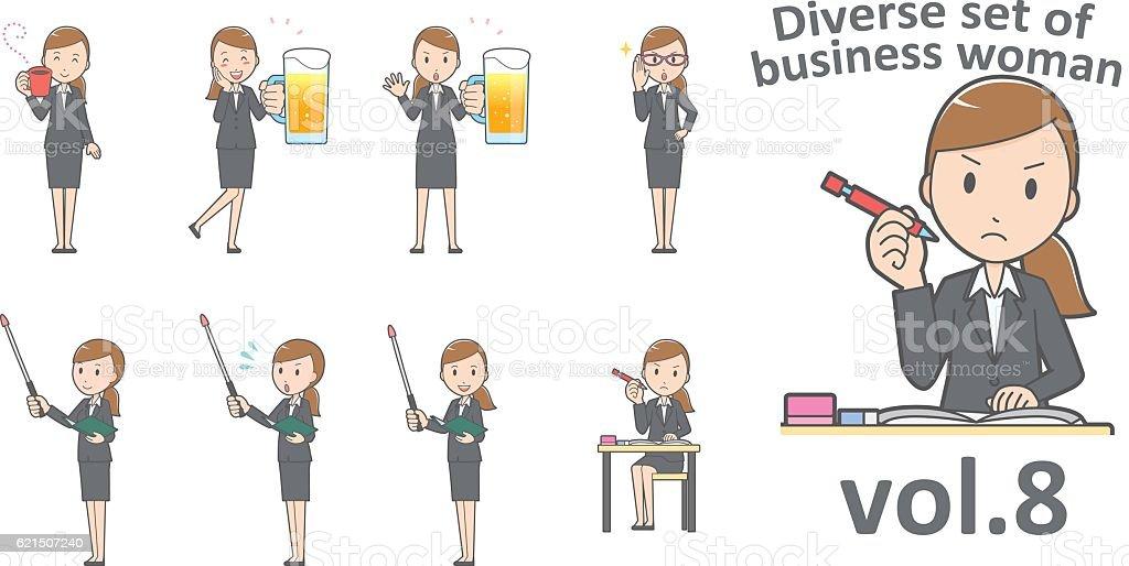 Diverse set of business woman , EPS10 vector format vol.8 Lizenzfreies diverse set of business woman eps10 vector format vol8 stock vektor art und mehr bilder von arbeiten