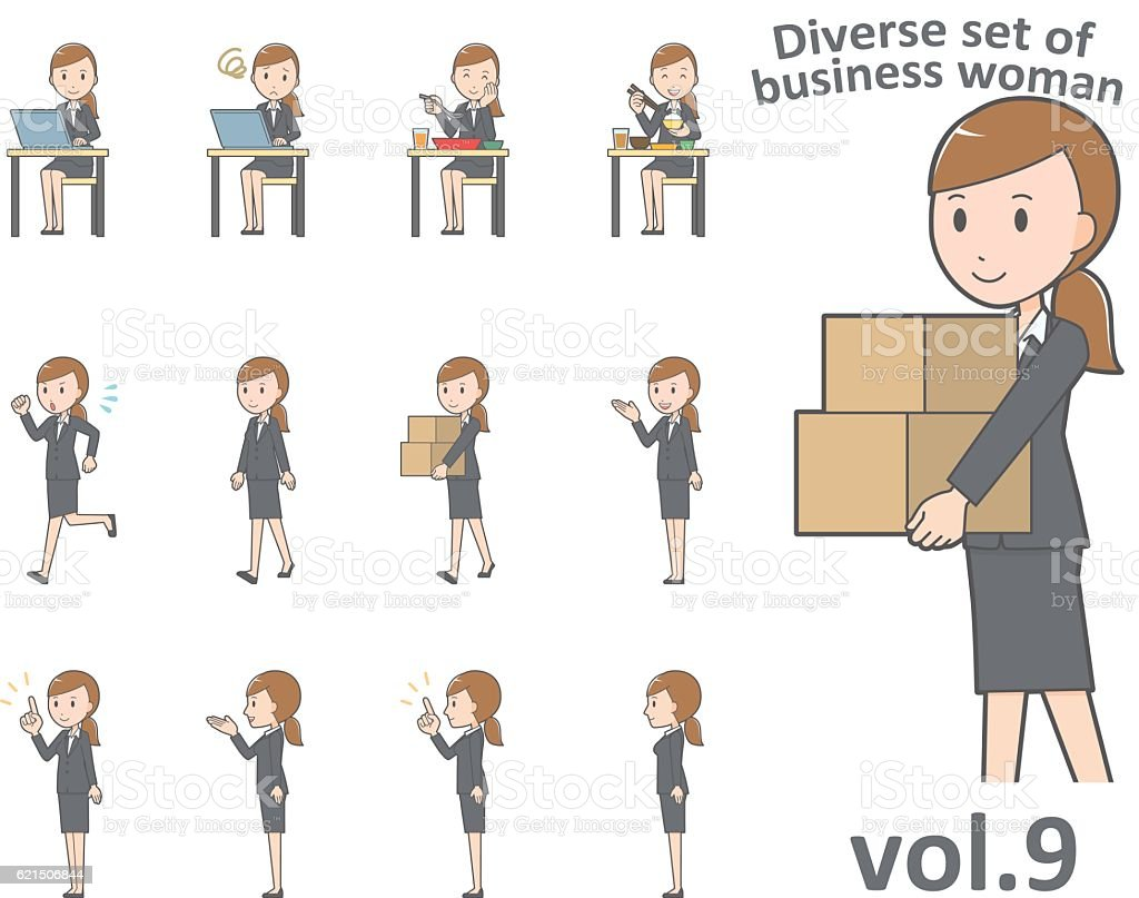 Diverse set of business woman , EPS10 vector format vol.9 Lizenzfreies diverse set of business woman eps10 vector format vol9 stock vektor art und mehr bilder von arbeiten
