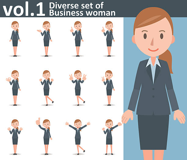 Diverse set of business woman on white background vol.1 Diverse set of business woman on white background , EPS10 vector format vol.1 human finger stock illustrations