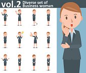 Diverse set of business woman on white background , EPS10 vector format vol.2