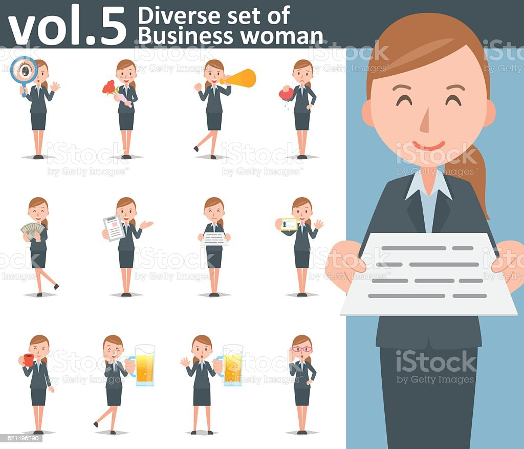 Diverse set of business woman on white background vol.5 – Vektorgrafik