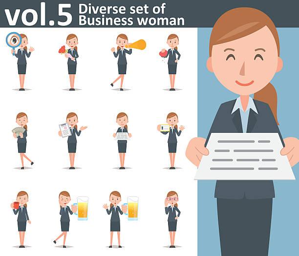 diverse set of business woman on white background vol.5 - オフィスワーク点のイラスト素材/クリップアート素材/マンガ素材/アイコン素材