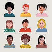 istock Diverse set of child portrait avatars — hand-drawn vector elements 1280994302