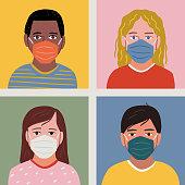 istock Diverse set of child portrait avatars wearing face masks — hand-drawn vector elements 1280994902