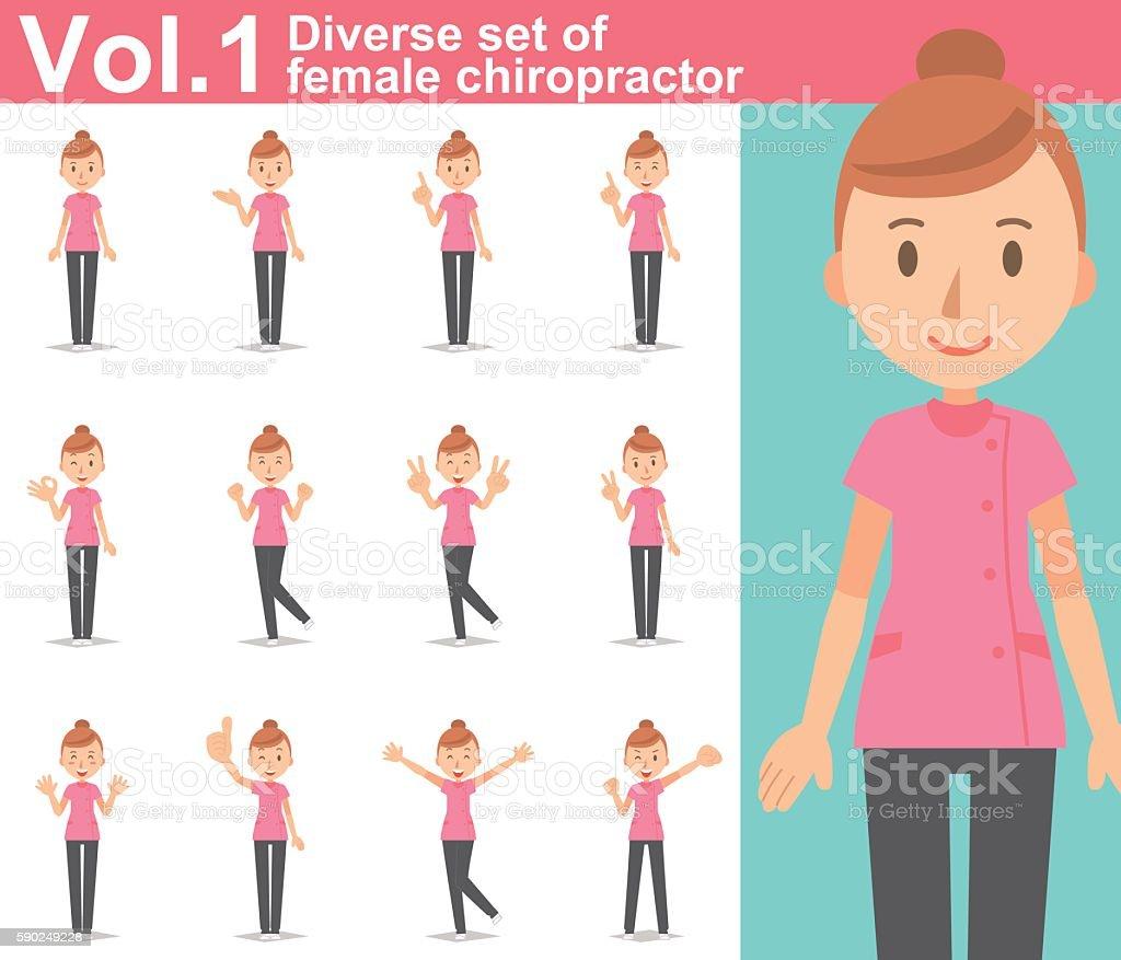 Diverse set of female chiropractor on white background  vol.1 vector art illustration