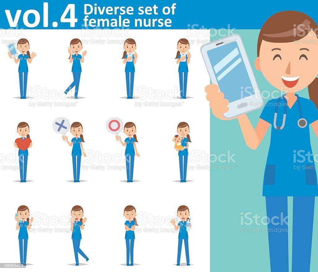 Diverse set of female nurse on white background vol.4 vector art illustration
