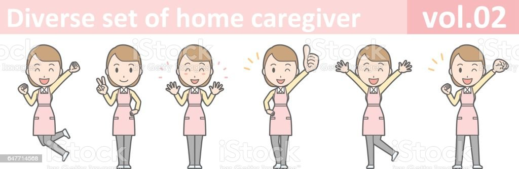 Diverse set of home caregiver, EPS10 vol.02 vector art illustration
