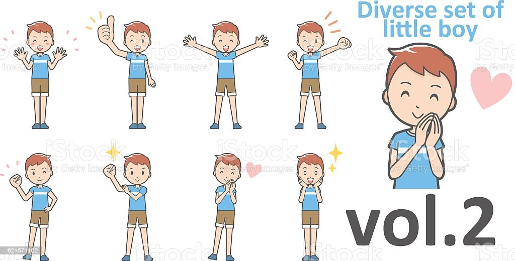 Diverse set of little boy , EPS10 vector format vol.2 diverse set of little boy eps10 vector format vol2 – cliparts vectoriels et plus d'images de de petite taille libre de droits
