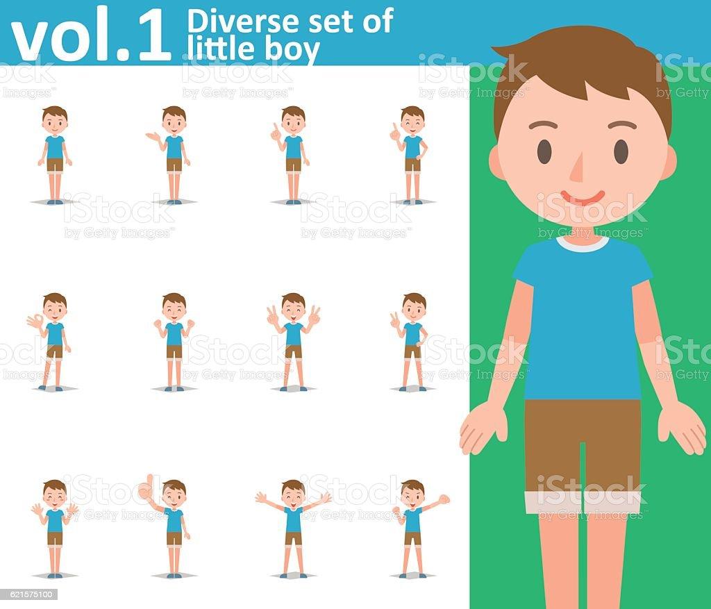 Diverse set of little boy on white background vol.1 diverse set of little boy on white background vol1 – cliparts vectoriels et plus d'images de de petite taille libre de droits