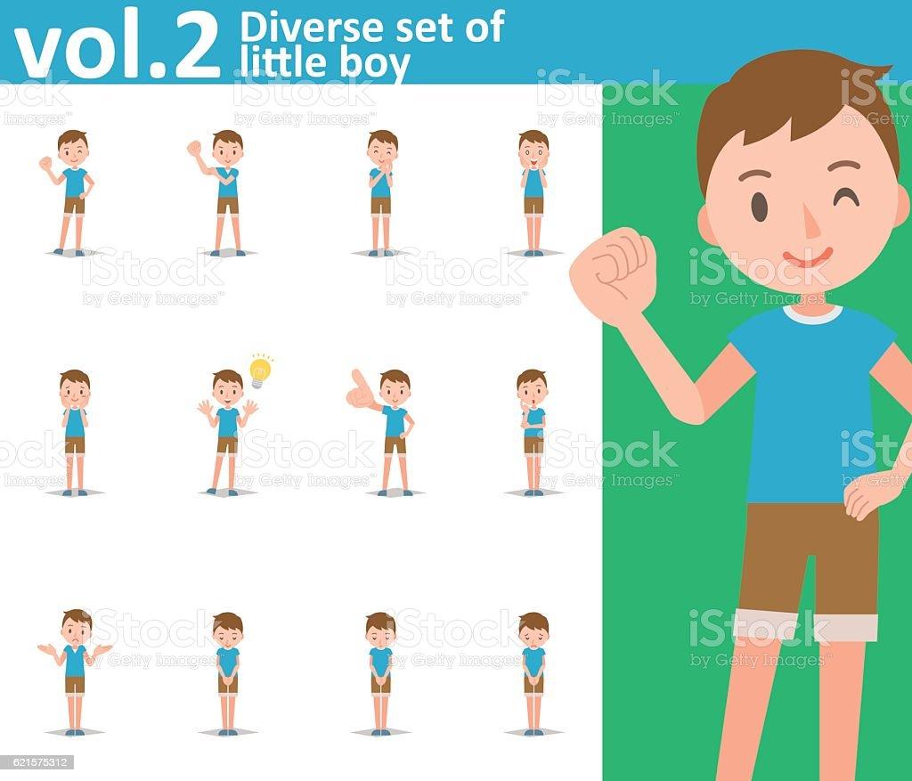 Diverse set of little boy on white background vol.2 diverse set of little boy on white background vol2 – cliparts vectoriels et plus d'images de beauté libre de droits