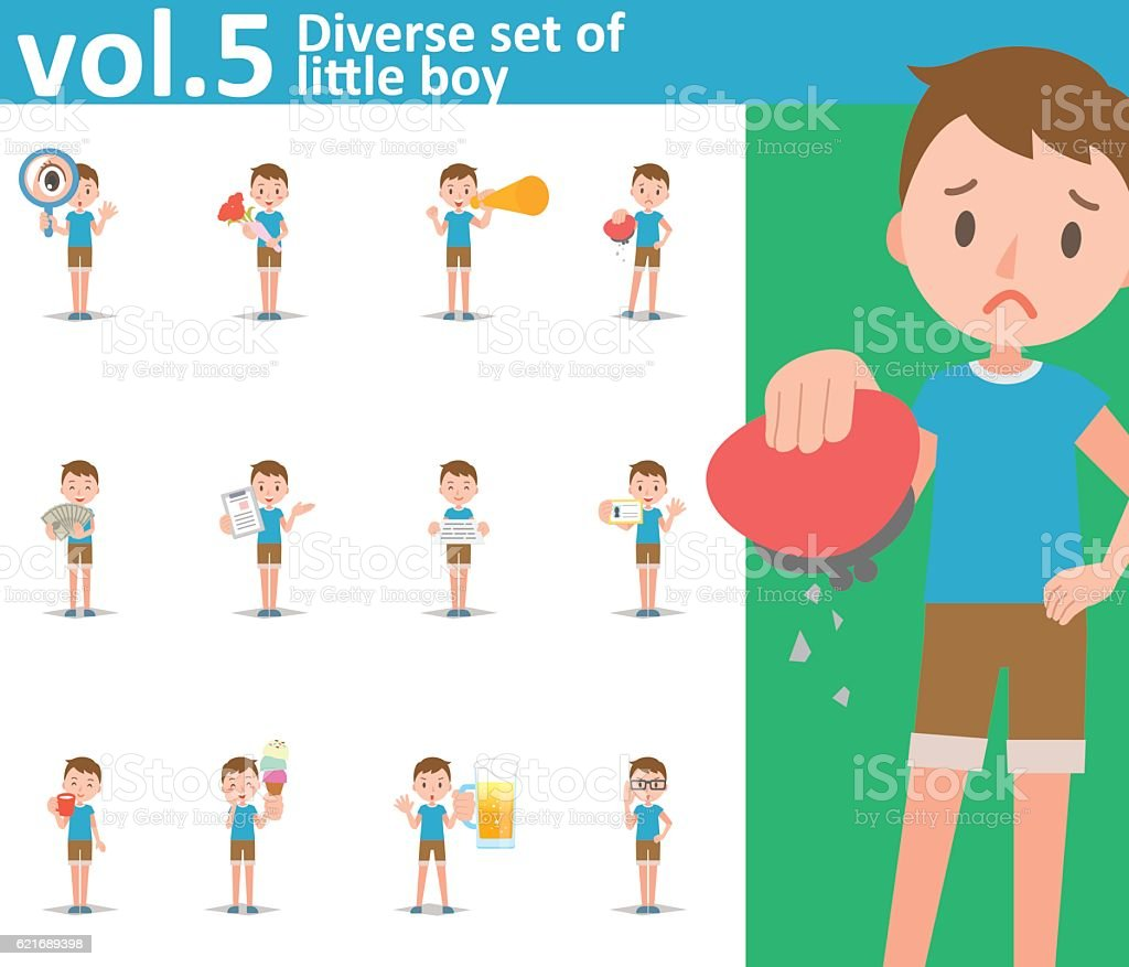 diverse set of little boy on white background vol5 stock vector art