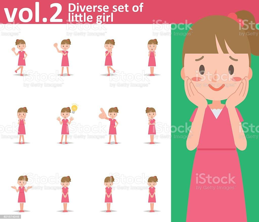 Diverse set of little girl on white background vol.2 diverse set of little girl on white background vol2 – cliparts vectoriels et plus d'images de beauté libre de droits
