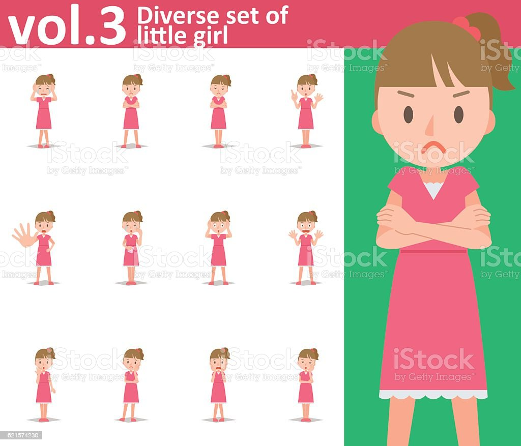 Diverse set of little girl on white background vol.3 diverse set of little girl on white background vol3 – cliparts vectoriels et plus d'images de chagrin libre de droits