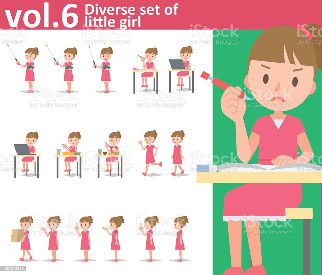 Diverse set of little girl on white background vol.6 diverse set of little girl on white background vol6 – cliparts vectoriels et plus d'images de apprentissage libre de droits