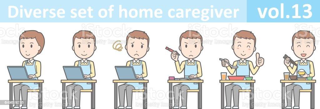 Conjunto diversificado de cuidador para casa masculino, EPS10 Vol. 13 - ilustração de arte em vetor