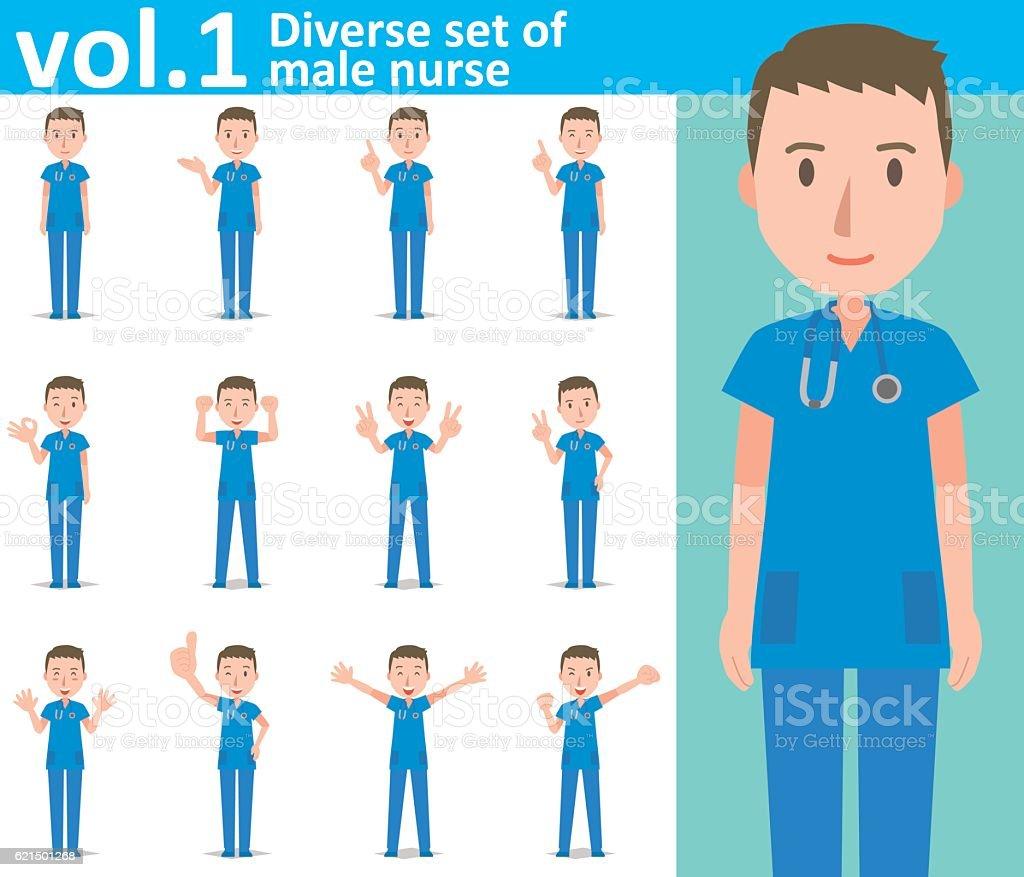 Diverse set of male nurse  , EPS10 vector format vol.1 diverse set of male nurse eps10 vector format vol1 - immagini vettoriali stock e altre immagini di adulto royalty-free