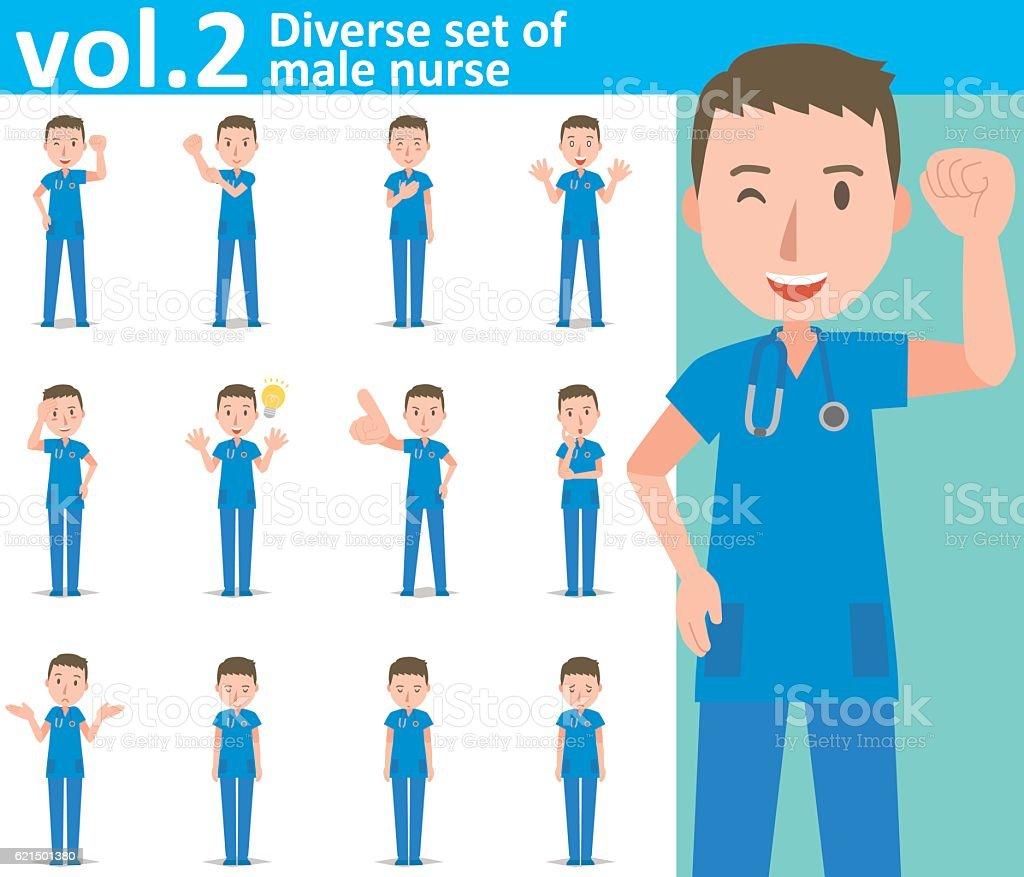 Diverse set of male nurse  , EPS10 vector format vol.2 diverse set of male nurse eps10 vector format vol2 - immagini vettoriali stock e altre immagini di adulto royalty-free